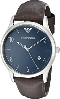 Emporio Armani Beta Men's Blue Dial Leather Band Watch - Ar1944, Analog Display, Quartz Movement