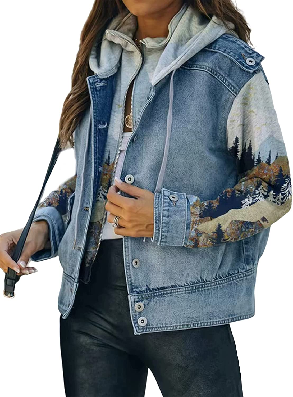 SCUSTY Women's Patchwork Denim Jean Jackets with Hood Aztec Print Coat Outerwear