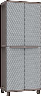 Terry Jrattan 368 Armoire d'Extérieur Balais, 2 Portes à Effet Rotin, Intérieur 4 Étagères, Gris, 68x37,5x170 cm