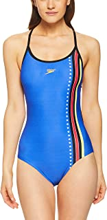 Speedo Women's 70S Super BCK ONE Piece, B Blue/Strs N Str