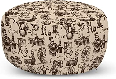 Ambesonne Circus Ottoman Pouf, Hand Drawn Sketch Style Clown Magician Elephant Strong Man Ferris Wheel Tent, Decorative Soft