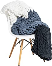 """Large Chunky Knit Throw Blanket - 50""""x60"""" Handmade Premium Chenille Yarn - Soft and Cozy for Bed, Couch, Chair, Home Décor..."""