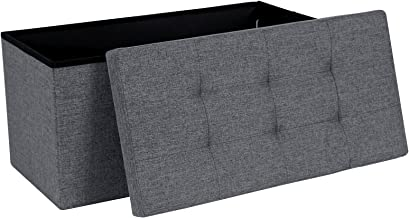 SONGMICS Ottoman Linen Fabric Folding Storage Footstool Versatile Space-saving 76 x 38 x 38 cm Dark Grey LSF84GYZ