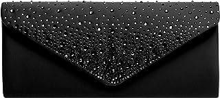 Caspar TA422 elegante Damen Baguette Envelope Clutch Tasche mit Strass Dekor
