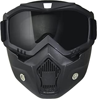 TORC Unisex-Adult Goggle Mask for All Open Half Face Helmets (Black, One Size)