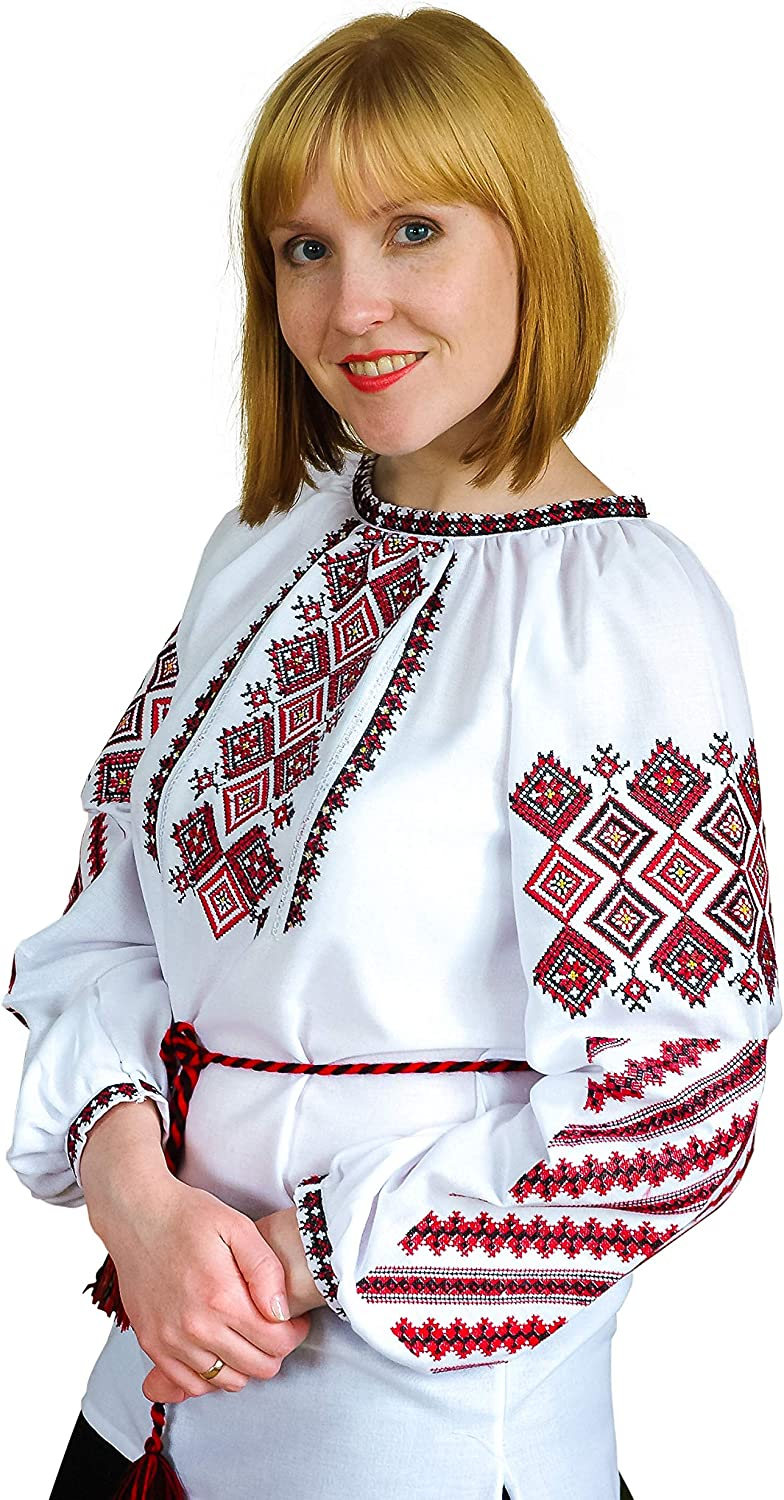 Ukrainian Embroidered Cotton Blouse with New Traditional Ethnic Style. White
