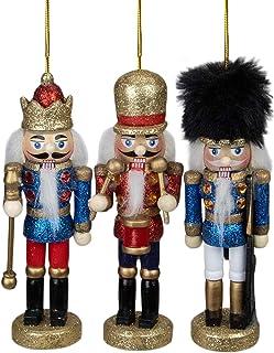 "Northlight Set of 3 Glittery Assorted Classic Nutcracker Ornaments 5"""