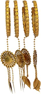 JD'Z COLLECTION Indian Bollywood Wedding Gold Colored Hanging Partywear Latkan Bangles Bracelet