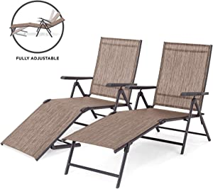 Best Choice Products Set of 2 Outdoor Adjustable Folding Steel Textiline Chaise Reclining Lounge Chairs w/ 6 Back & 2 Leg Positions - Brown