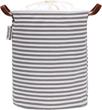 Sea Team 19.7 Inches Large Sized Waterproof Coating Ramie Cotton Fabric Folding Laundry Hamper Bucket Cylindric Burlap Can...