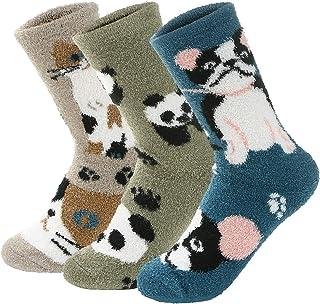Zando Women's Thick Merino Ragg Knit Warm Wool Crew Mid-Calf Winter Socks