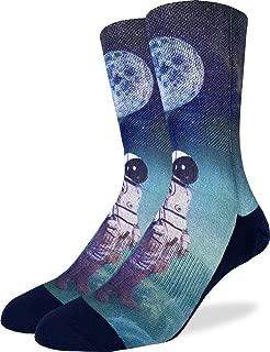 Good Luck Sock Men's Astronaut with Balloon Crew Socks - Adult Shoe Size 8-13