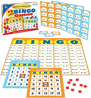 Carson Dellosa Addition and Subtraction Bingo Board Games—K-Grade 2 Math Bingo Games With 36 Double-Sided Game Cards, Bing...