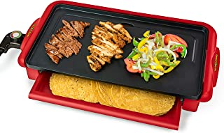 Nostalgia Nonstick Fiesta Griddle With Warmer, Perfect For Fajitas, Quesadillas, Burritos, 20x10 Aluminum Surface, 20 x 10 inch, Red