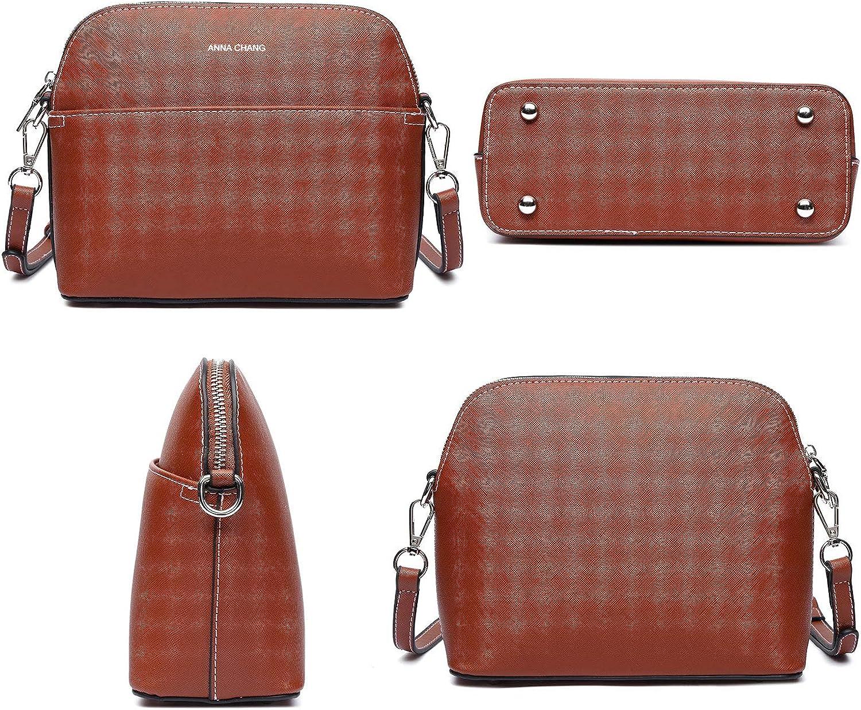 Medium Dome Vegan Leather Shoulder Purses Lightweight Handbags with Multi Pockets Crossbody Bags for Women