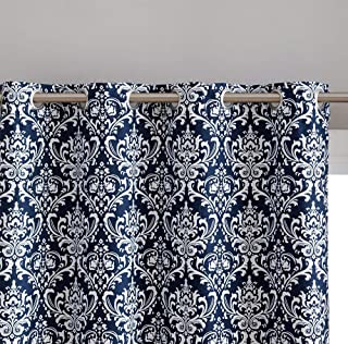 HLC.ME Damask Print 100% Full Blackout Curtains for Living Room, Bedroom, and Nursery | Noise Reducing, Room Darkening Grommet Curtains for Window Privacy - Set of 2 (52
