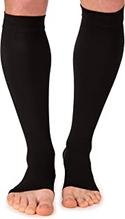 Open Toe Compression Socks for Men and Women - Shin Splint Sleeves for Leg, Calves – Running, Cycling
