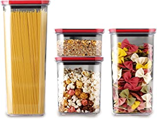 Neoflam Smart Seal Patent Airtight Kitchen Pantry Canister/Organizer Clear Plastic Container with Simple Twist Lids, Leak ...