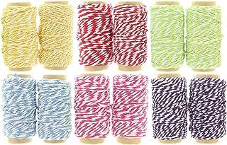 MIJOMA 12 x 10m Rollen Bäckergarn | Bakers Twine | Baumwollgarn | Deko-Kordel | Bastelschnur | Paketband | Geschenkband im Farbmix
