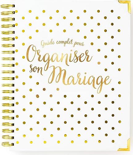 Organisateur De Mariage Francais - Planificateur de mariage - Livre de planification de mariage - Blanc et or - Versi...
