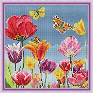 Cross Stitch Counted Kits Stamped Kit Cross-Stitching Pattern for Home Decor, 14CT White Fabric Embroidery Crafts Needlepo...