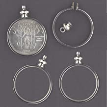 Coin Holder Bezel 25 Cent/USA Quarter silvertone ~ for Charm, Necklace, Pendant, Display (Pack of 4)