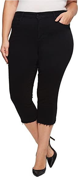 Plus Size Capris w/ Released Hem in Black
