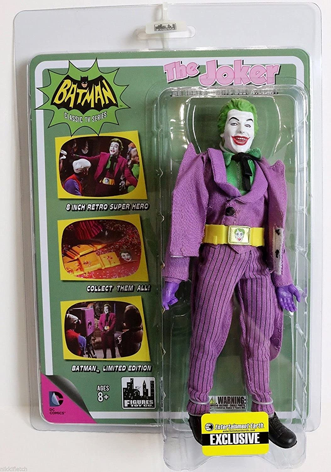 Batman Classic TV Series 8 Inch Action Figure  Joker With Utility Belt Variant Entertainment Earth Exclusive