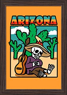 Arizona - Day of the Dead - Skeleton Siesta with Guitar (12x18 Giclee Art Print, Gallery Framed, Espresso Wood)