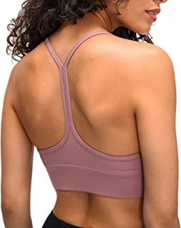 Rylech Seamless Strappy Padded Bras Medium Support Workout Gym Yoga Tops for Women