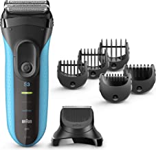 Braun Series 3 Shave&Style 3010BT 3-in-1 Electric Razor for Men, Rechargeable and Cordless Electric Shaver, Wet & Dry Foil Shaver, Blue, with 5 Combs and Precision Trimmer Head