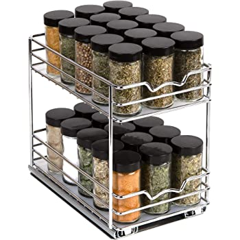 "Spice Rack Organizer for Cabinet - Pull Out Double Tier Spice Rack 6-3/8""W x 10-3/8""D x 8-7/8 for Upper Kitchen Cabinets and Pantry Closets, For Spices, Sauces, Canned Food etc. 6"" Between Shelves"