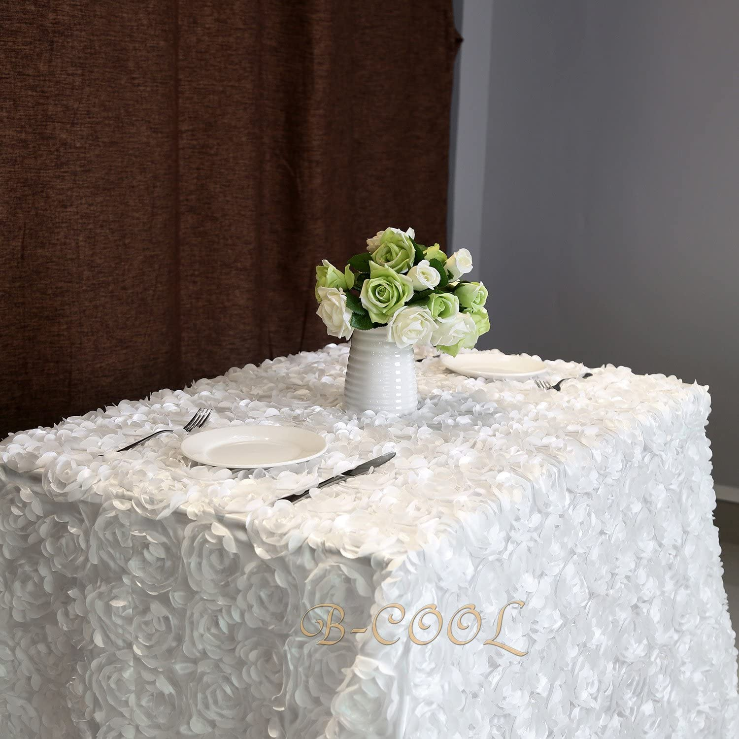 B-COOL pinktte white tablecloth pinktte Florals Satin Rectangular Tablecloth For Wedding Party 90 x156