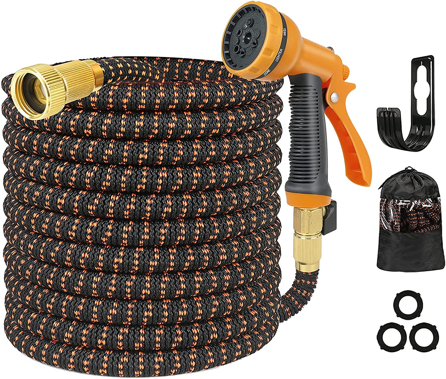 Garden Water Hose 50ft - Lightweight and Kink Free Expandable Garden Hose Pipe with 10-Function Spray Gun and 3/4 Inch Solid Brass Fittings
