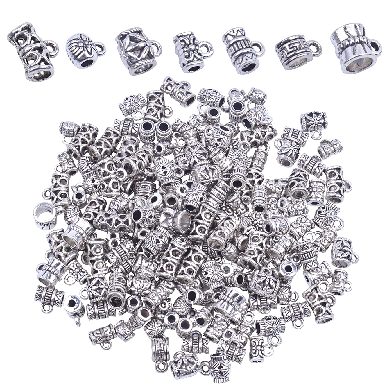 BronaGrand 100g (About 160-170pcs) Mixed Antique Tibetan Silver Bail Beads,Spacer Bead,Bail Tube Beads,Bracelet Charms,Necklace Pendants for Jewelry and Craft Making(Small Size)