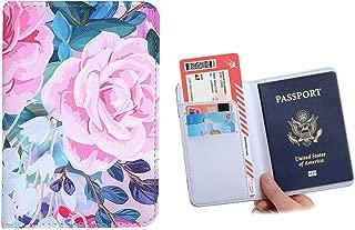 ONLVAN Leather 3D Passport Cover Holder Case for Women & Men Blocking Travel Wallet Organizer(Colorful_Flower)
