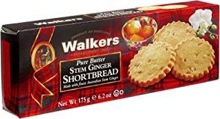 Walkers Shortbread Stem Ginger Shortbread, Traditional & Simple Pure Butter Scottish Shortbread Cookies With Australian Stem Ginger, No Artificial Flavors, 6.2 Ounce (Pack of 4)