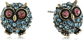 Betsey Johnson Betsey's Delicates Pave Owl Stud Earrings