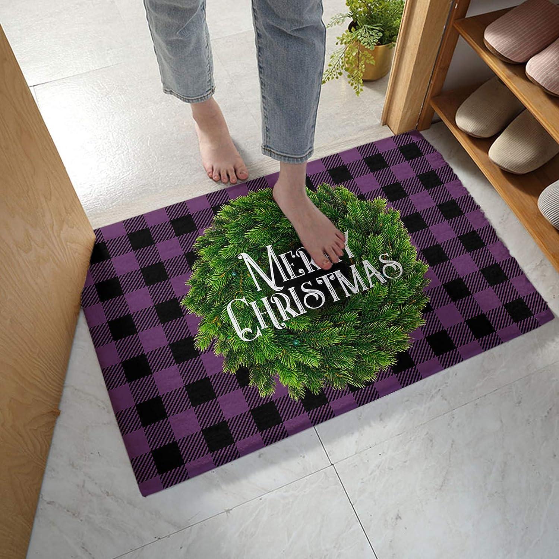 Fangship Bathroom Long Beach Mall Rug Bath Mat Wreath with Merry Green Christmas Luxury