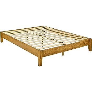 Amazon Basics Wood Platform Bed - Rustic Finish - No Box Spring Needed - Strong Wood Slat Support, Twin