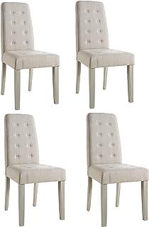 Abitti Pack 4 sillas para Comedor o salón tapizadas en Tela Arena y Estructura en Madera Maciza de Pino 45x95cm