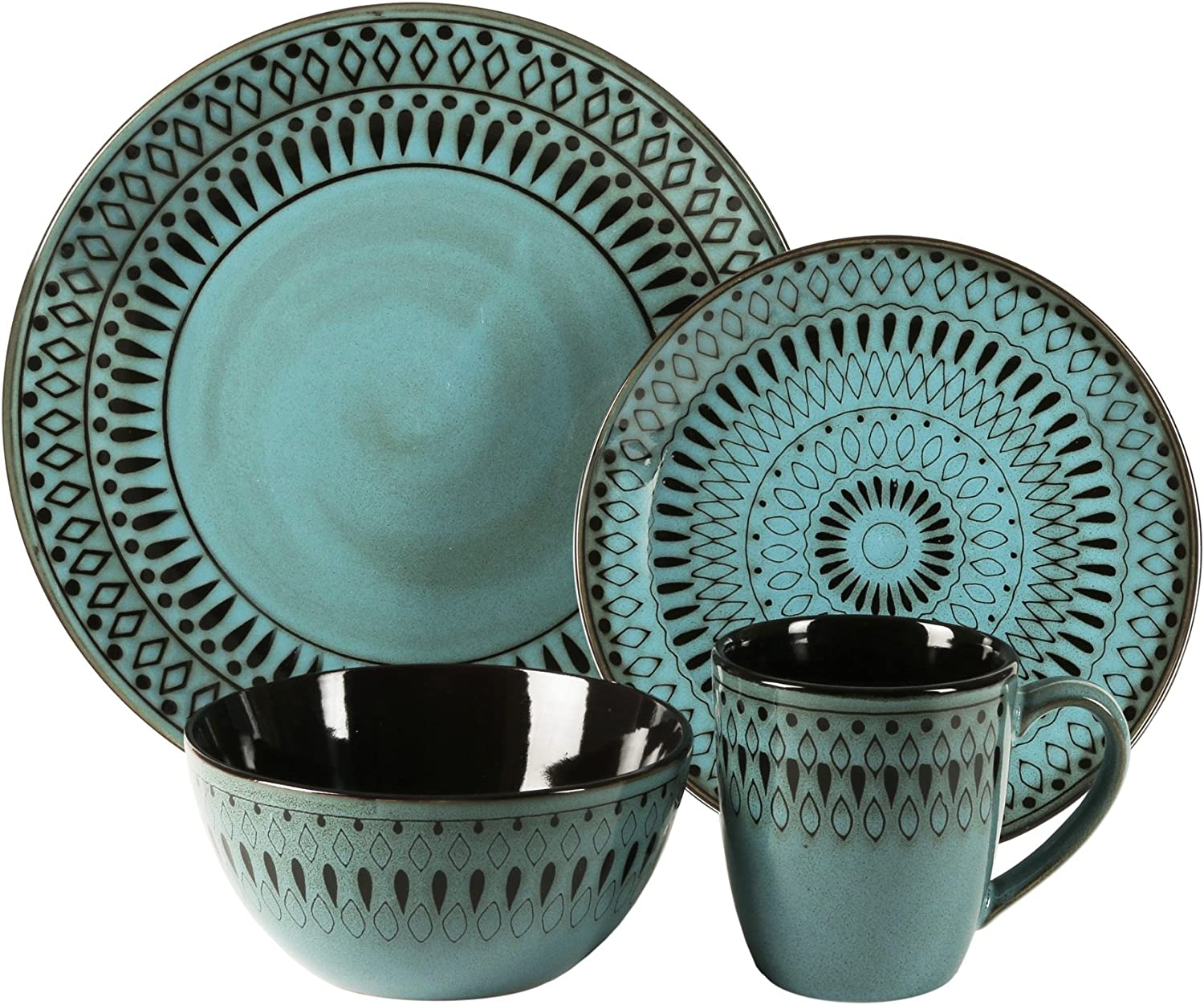 American Atelier Same day shipping Romy Blue Dinnerware 16-piece Earthenware Set Ranking TOP1