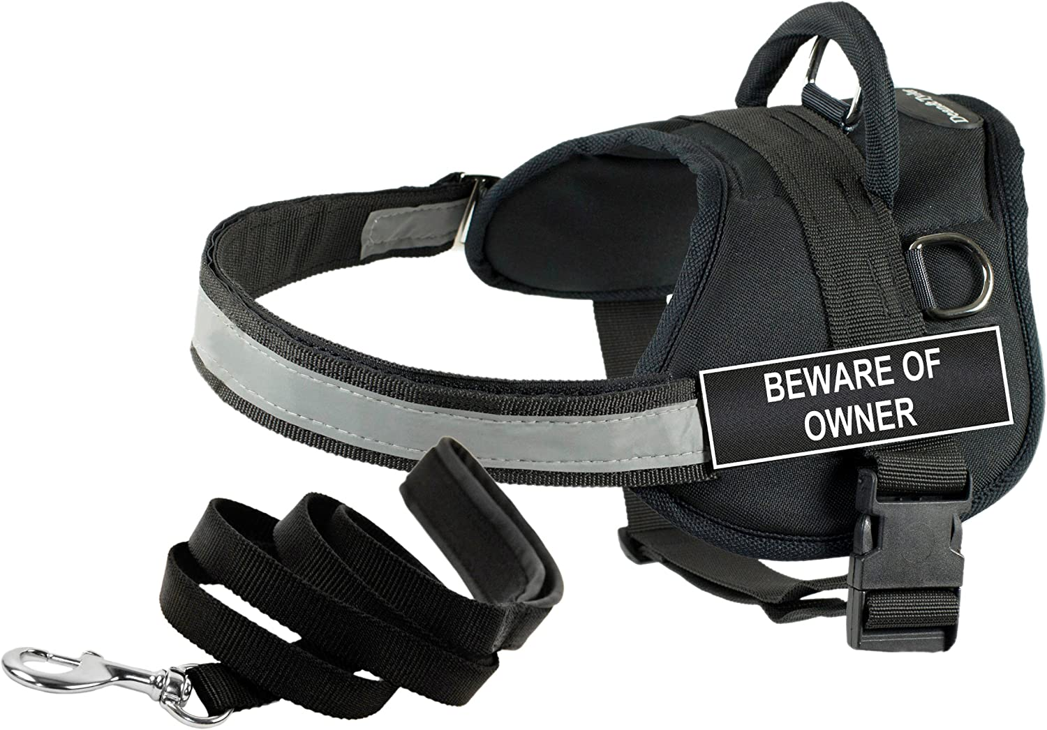 Dean & Tyler's DT Works BEWARE OF OWNER Harness, XXSmall, with 6 ft Padded Puppy Leash.