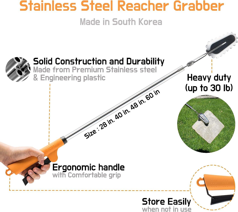 FTH All Stainless Steel Grabber Reacher Pickup Tool Heavy Duty Trash Picker Snake Tongs