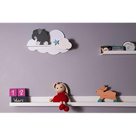 Blue Set of 2 Happy Woody Cloud Wall Shelves for Nursery//Wooden Floating Shelf//Baby Room Decor//Nursery Room Decoration//Kids Room Wall Decor//Gift Set