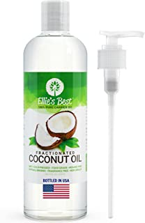 Fractionated Coconut Oil - Pure USA Expeller Cold Pressed & Hexane Free - Best Therapeutic Grade Carrier Oil for Essential Oils Aromatherapy & Massage - Food Grade MCT - 12 Ellie's Recipes (16 oz)
