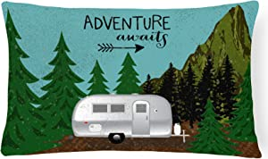 Caroline's Treasures VHA3022PW1216 Airstream Camper Adventure Awaits Canvas Fabric Decorative Pillow, Multicolor, 12Hx16W