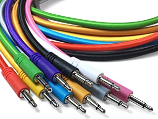 Eurorack kable krosowe mono, zestaw 5 sztuk, plecione kable krosowe 3,5 mm do 3,5 mm, do stosowania z syntezatorami modula...