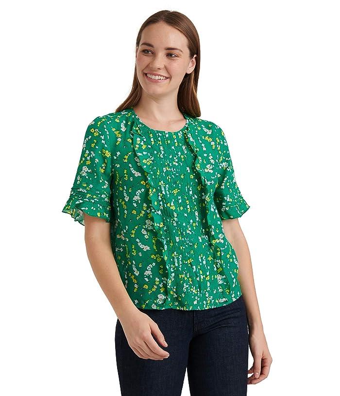 Lucky Brand  Short Sleeve Crew Neck Skylar Pin Tuck Top (Green Multi) Womens Clothing