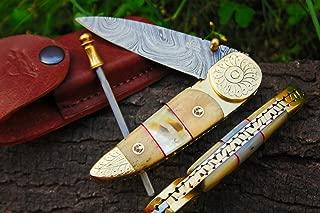 DKC Knives (9 6/18) Sale x DKC-176 Brass Prince Damascus Steel Folding Pocket Knife Custom Handmade Pearl 4.5
